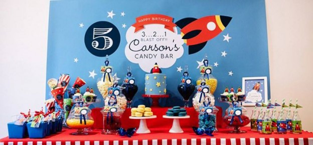 3, 2, 1 Blast Off Themed Candy Bar + Party via Kara's Party Ideas KarasPartyIdeas.com #rocketshipparty #spacepartyideas #spaceparty #321blastoff (2)