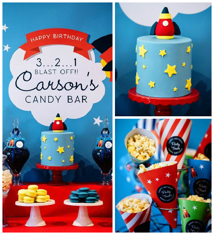 3 2 1 Blast Off Themed Candy Bar Party Via Karas Ideas