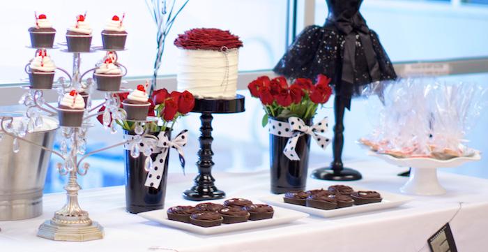 Karas Party Ideas Black White Red Elegant Birthday Party via