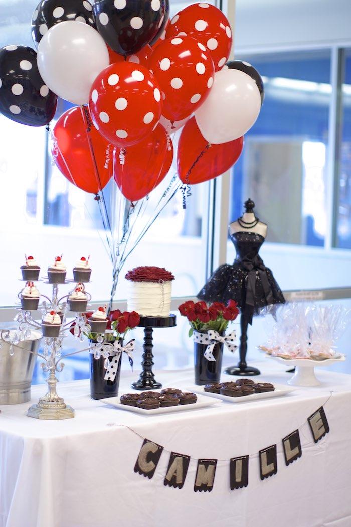 Kara s Party Ideas Black White Red Elegant Birthday