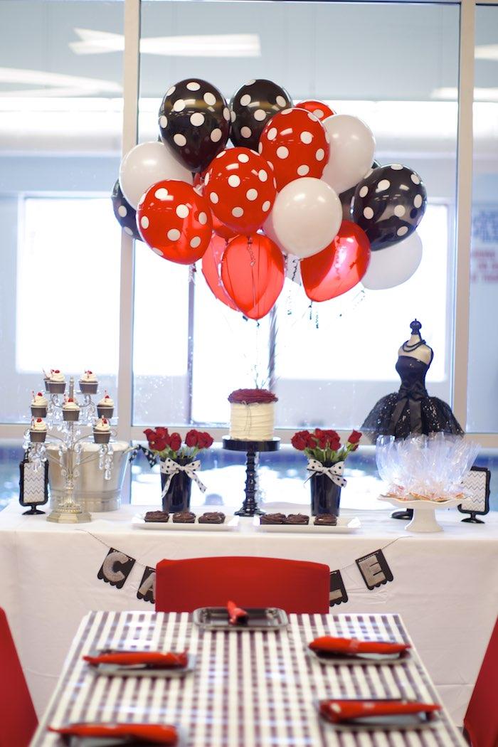 Kara 39 s party ideas black white red elegant birthday party via kara 39 s party ideas - Red and white decorations ...