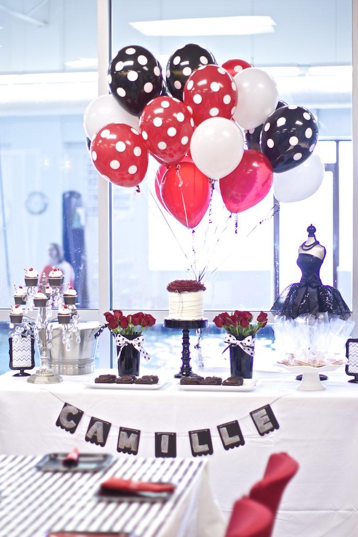 Kara S Party Ideas 187 Black White Red Elegant Birthday
