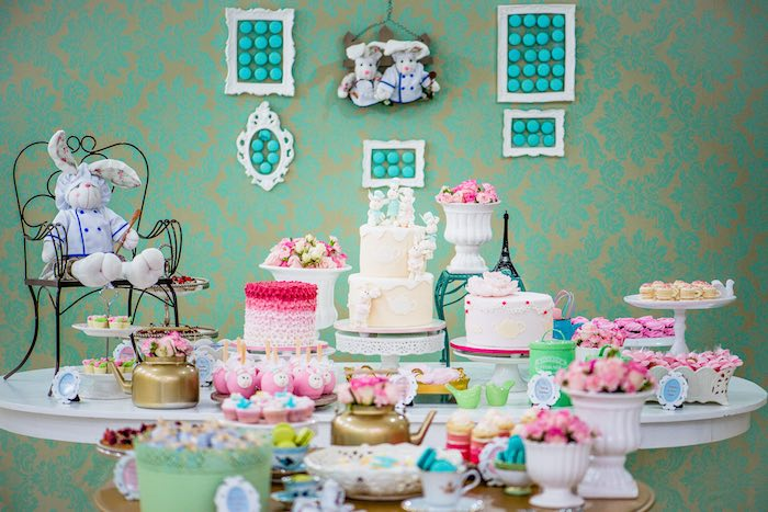beautiful french patisserie baking themed birthday party via karaus party  ideas tutorials printables with french themed decor