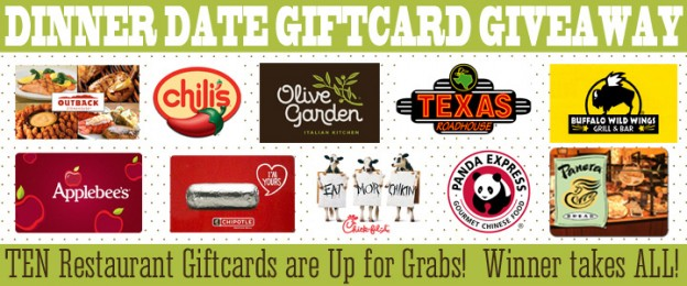 DINNER + DATE 10 restaurant GIFT CARD GIVEAWAY!