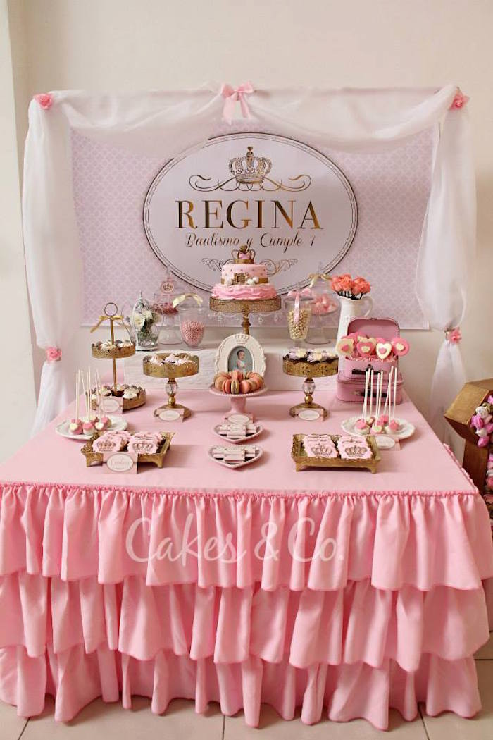 Kara 39 s party ideas pink gold princess 1st birthday party for 1st birthday decoration images