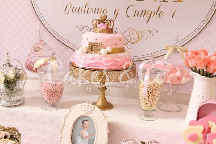 Kara S Party Ideas Pink Gold Princess First Birthday Party