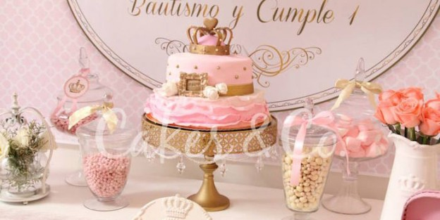 Pink & Gold Princess 1st Birthday Party via Kara's Party Ideas KarasPartyIdeas.com Cake, decor, printables, giveaways and more! #princess #princessparty #princesspartyideas #pinkandgold #firstbirthday #princesspartysupplies (1)