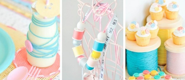 Sewing themed birthday party via Kara's Party Ideas | Kara Allen | KarasPartyIdeas.com Cake, decor, crafts, games, invitation, cupcakes, banner, dessert ideas and more! 2