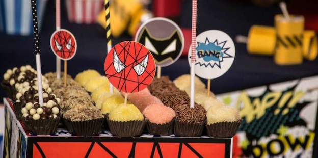 Superhero Themed Birthday Party via Kara's Party Ideas KarasPartyIdeas.com #superheroparty #superheropartysupplies #superheropartyideas (1)