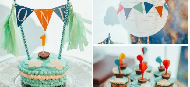 Up Up and Away Hot Air Balloon 1st birthday party via Kara's Party Ideas