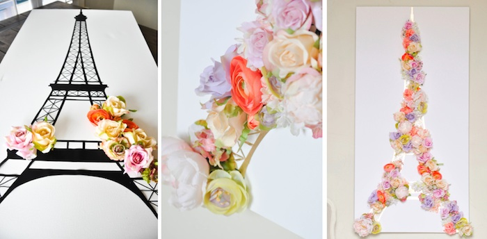 The Birthday Party Project >> Kara's Party Ideas DIY Springtime in Paris Eiffel Tower Floral + Gold Leafing Wall Canvas
