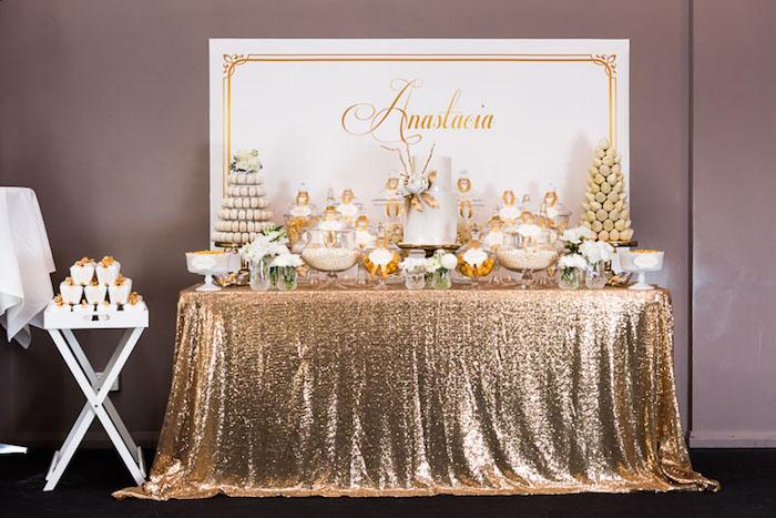 Receiving Table Baptism Decor Gold Blush