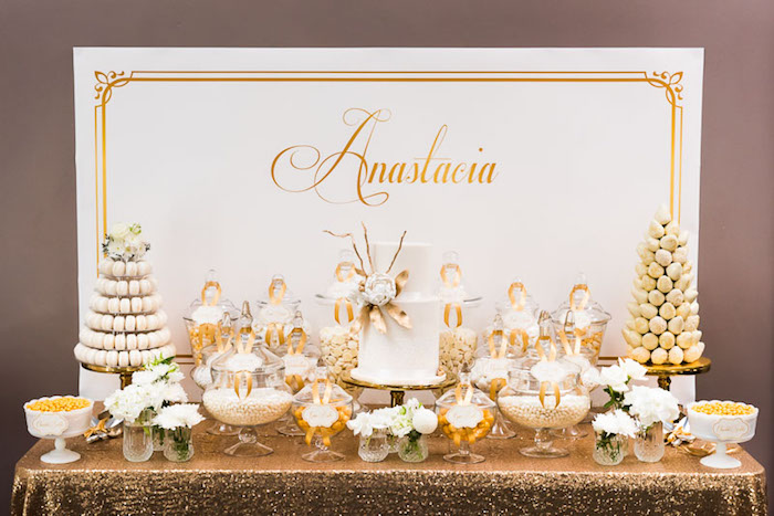 Elegant Gold White Baptism Party Via Kara S Ideas KarasPartyIdeas Com Goldandwhitebaptismdesserttable