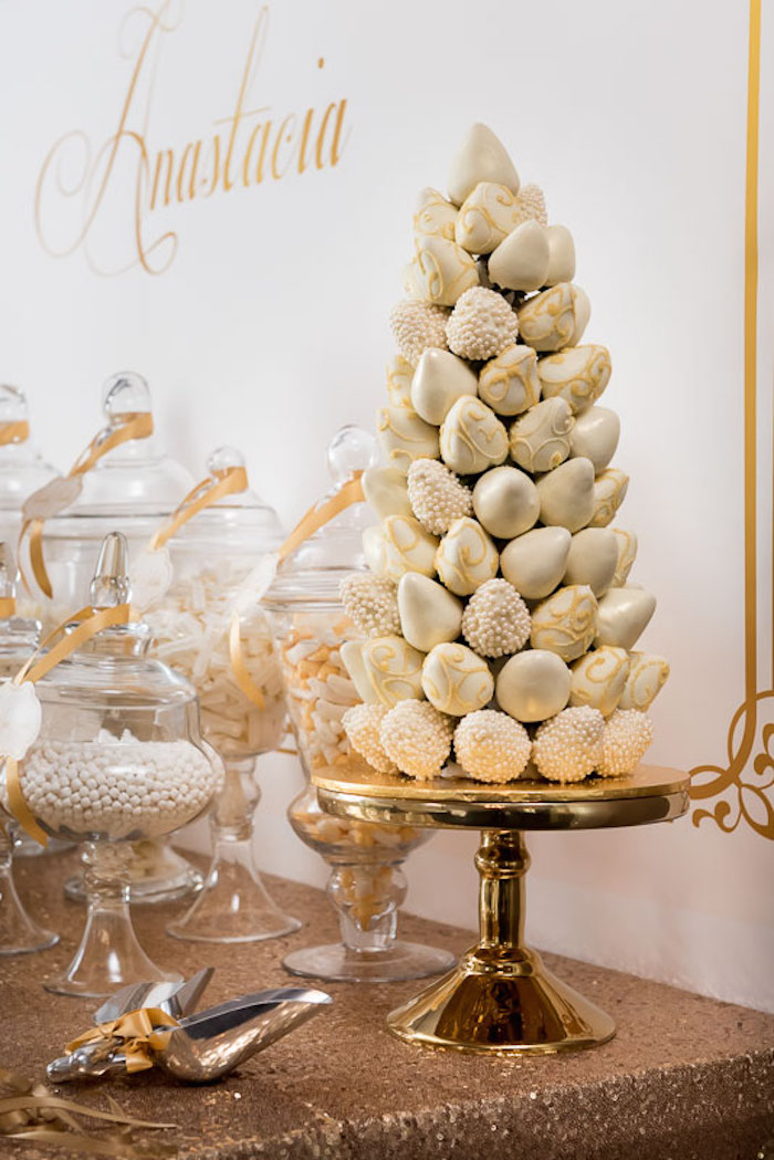 Kara's Party Ideas Elegant Gold + White Baptism Party via ...