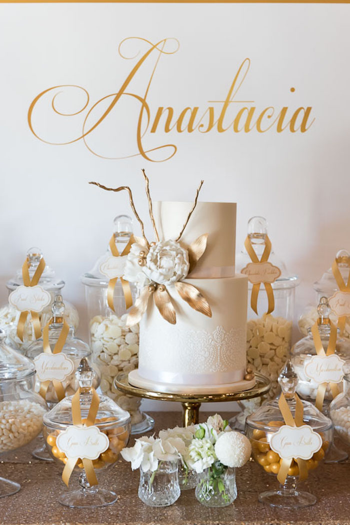Kara S Party Ideas Elegant Gold White Baptism Party Kara S Party