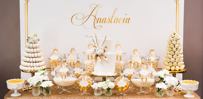 Kara S Party Ideas Elegant Gold White Baptism Party
