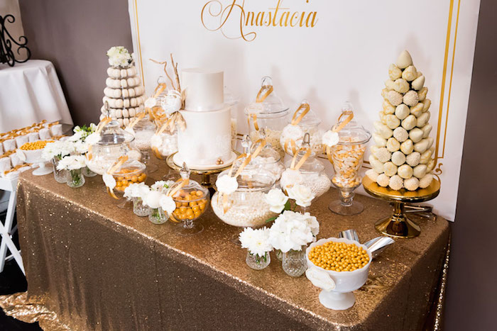 Elegant Gold White Baptism Party Via Karas Ideas KarasPartyIdeas Goldandwhitebaptismdesserttable