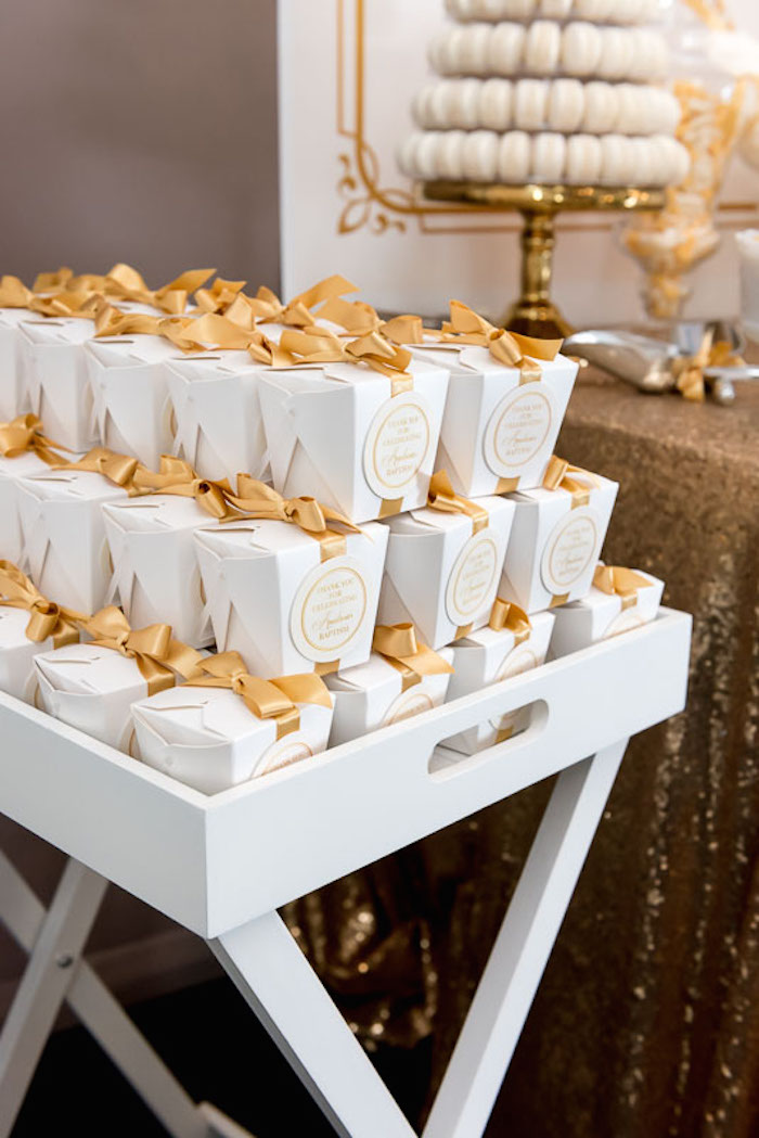 Elegant Gold White Baptism Party Via Karas Ideas KarasPartyIdeas Goldandwhitebaptismdesserttable