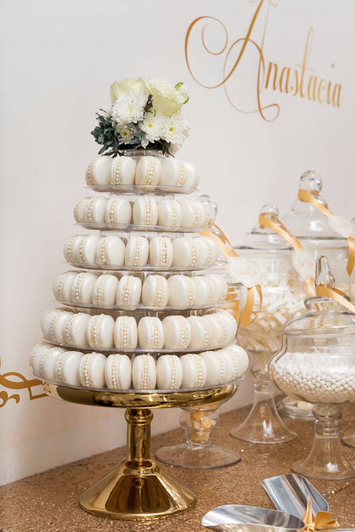 Kara s party ideas elegant gold white baptism via