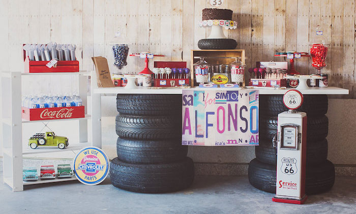 Kara S Party Ideas Vintage Chevy Auto Garage Themed