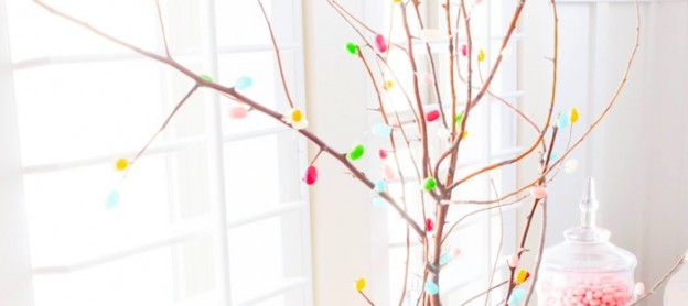DIY Spring Blossom Jelly Belly Bean Branches Centerpiece and Easter Dessert Table by Kara Allen | Kara's Party Ideas | KarasPartyIdeas.com for Jelly Belly Candy Company