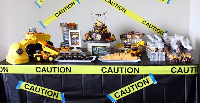 Kara S Party Ideas Construction Themed Fifth Birthday Party