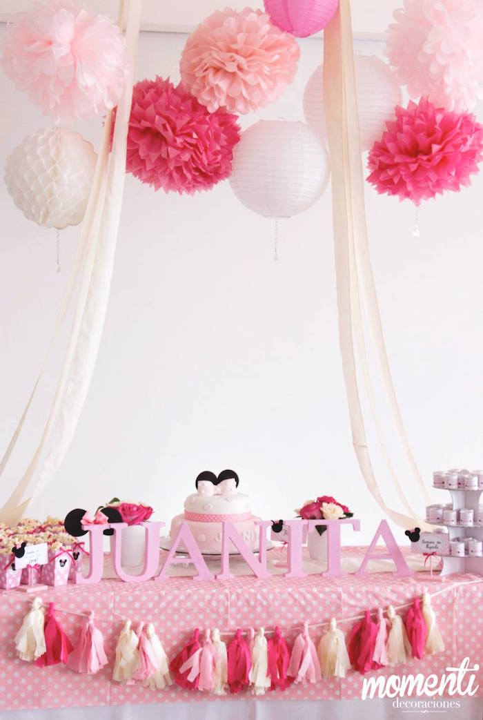 Kara 39 s party ideas minnie mouse baby shower via kara 39 s for Baby minnie mouse party decoration ideas