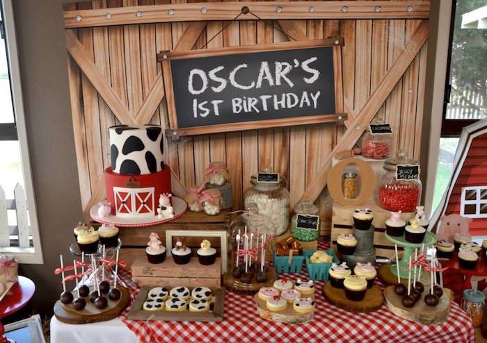 Karas Party Ideas Rustic Barnyard 1st Birthday Party via Karas