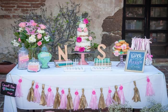 Karas Party Ideas Shabby Chic Book themed bridal shower via