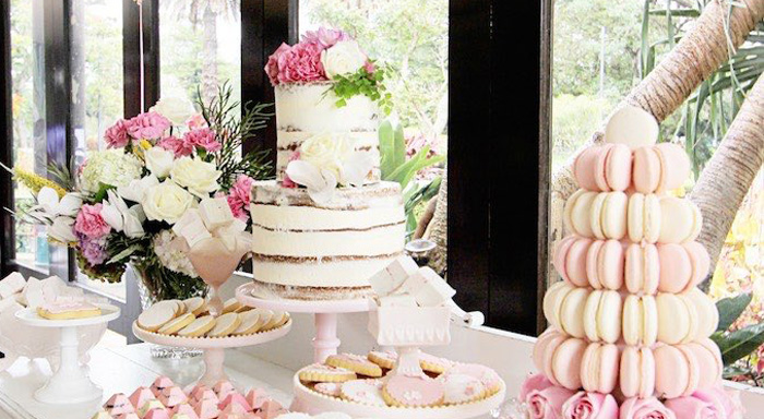 Kara S Party Ideas Pretty In Pink Baptism Dessert Table
