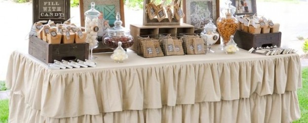 Dessert candy favor table at a chalk + chalkboard and burlap themed baptism luncheon party via Kara Allen | Kara's Party Ideas | KarasPartyIdeas.com LDS Baptism