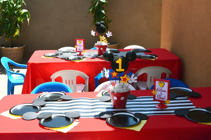 Kara S Party Ideas Mickey Mouse 1st Birthday Party Via