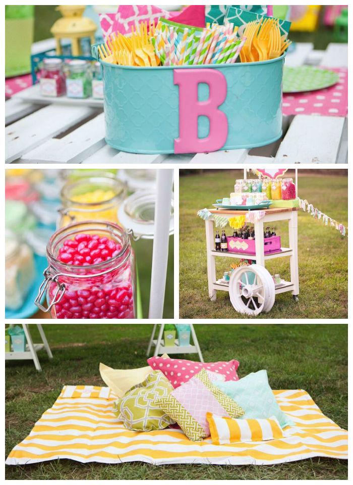 Kara S Party Ideas Pastel Outdoor Movie Night Via Kara S