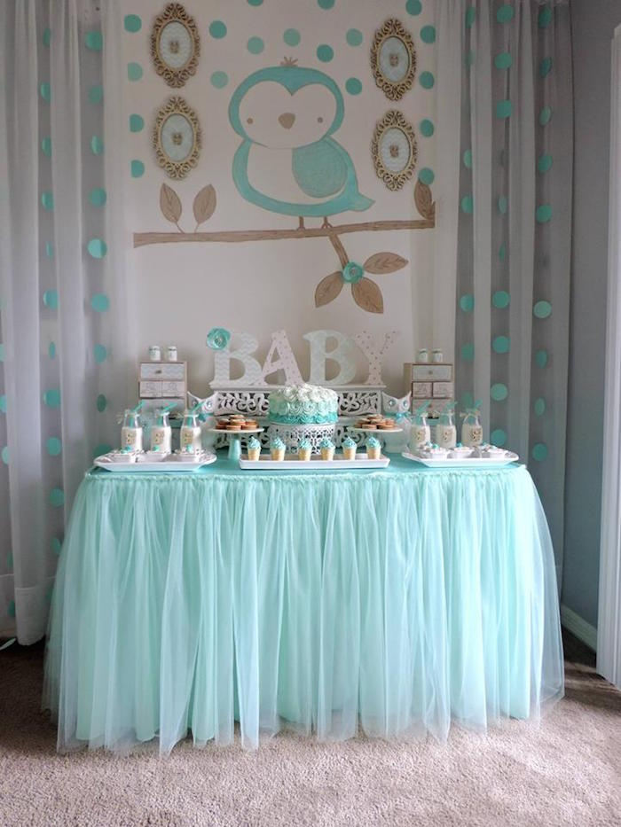 Kara 39 s party ideas turquoise owl welcome home baby party for Welcome home decorations ideas