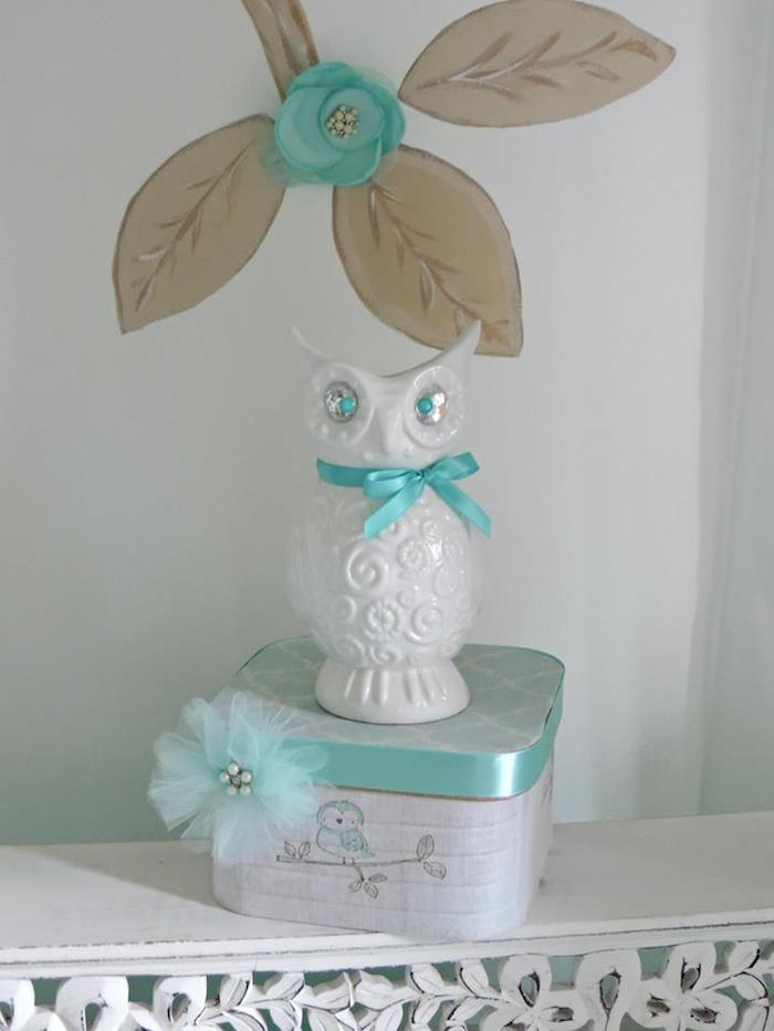 Kara 39 s party ideas turquoise owl welcome home baby party for Welcome home baby decorations