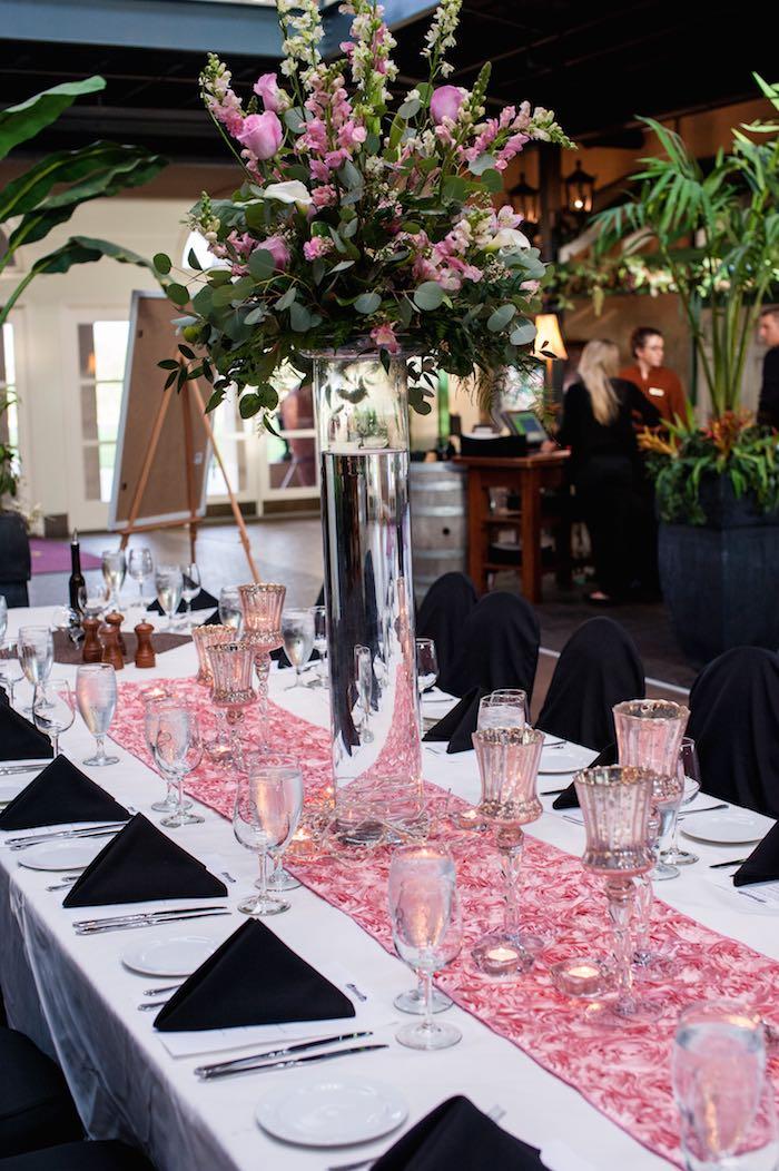 Superb 40th Birthday Dinner Party Ideas Part - 3: Karas Party Ideas Glamorous Pink Gold 40th Birthday Party Via