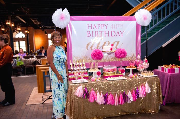 Kara 39 s party ideas glamorous pink gold 40th birthday for 40 year old birthday decoration ideas