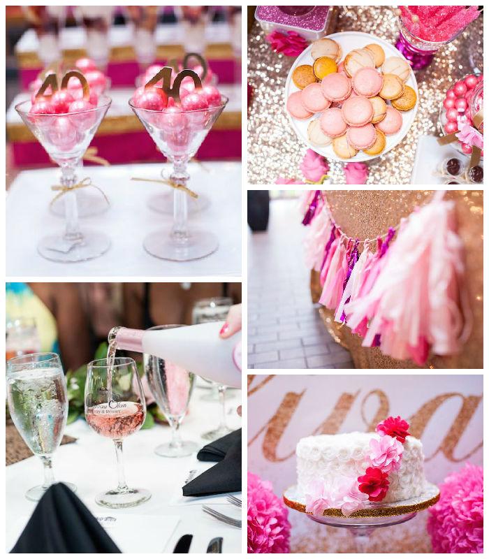 Glamorous Pink Gold 40th Birthday Party Via Karas Ideas