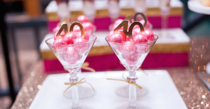 Kara's Party Ideas Glamorous Pink + Gold 40th Birthday Party