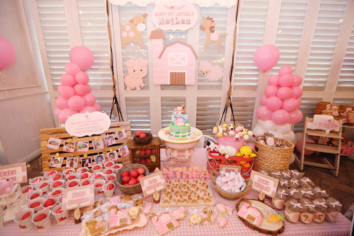 Kara 39 s party ideas pink barnyard birthday party via kara 39 s for Animal decoration games for girls