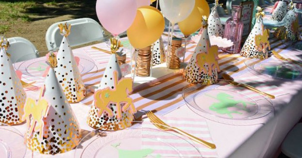 Dining Tablescape From A Carousel 1st Birthday Party Via Karas Ideas