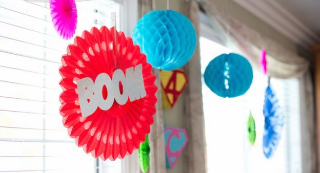 Hanging party decorations from a Chic Superhero Birthday Party via Kara's Party Ideas | KarasPartyIdeas.com | The Place for ALL Things Party! (1)