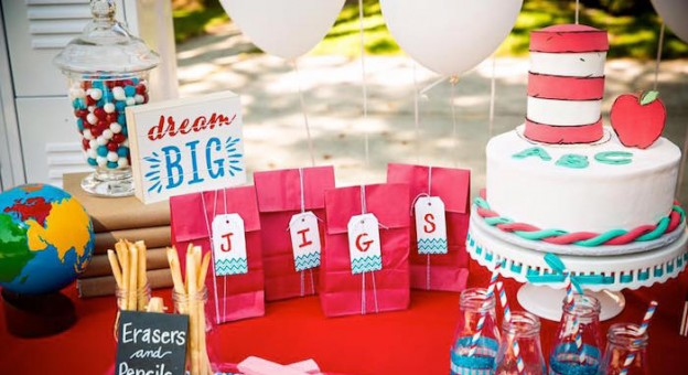 Close-up view of a dessert table from a Dr. Seuss. Back to School Party via Kara's Party Ideas KarasPartyIdeas.com (2)