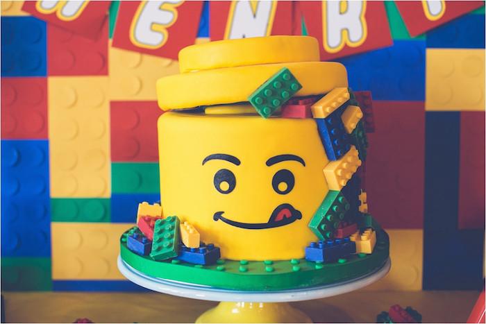 Kara's Party Ideas » Lego Face Cake from a Lego Birthday ...