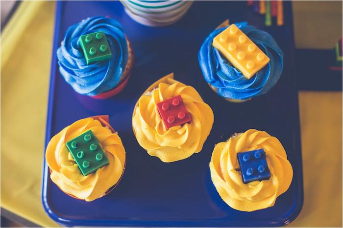 Lego Topped Cupcakes From A Birthday Party Via Karas Ideas KarasPartyIdeas