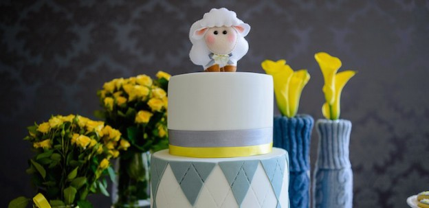 Cake from a Little Lamb themed Baptism via Kara's Party Ideas | KarasPartyIdeas.com (2)