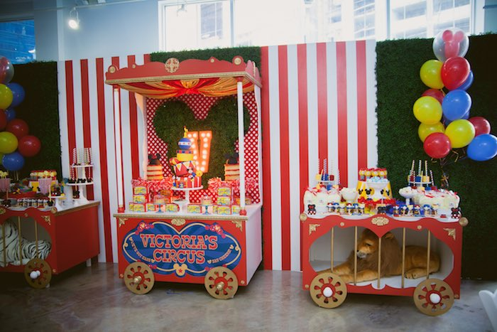 Kara S Party Ideas Circus Train Tables From A Mickey Mouse