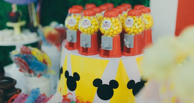 Circus Favor Stand with Gumball Machine Favors from a Mickey Mouse Circus Birthday Party via Kara's Party Ideas KarasPartyIdeas.com (3)