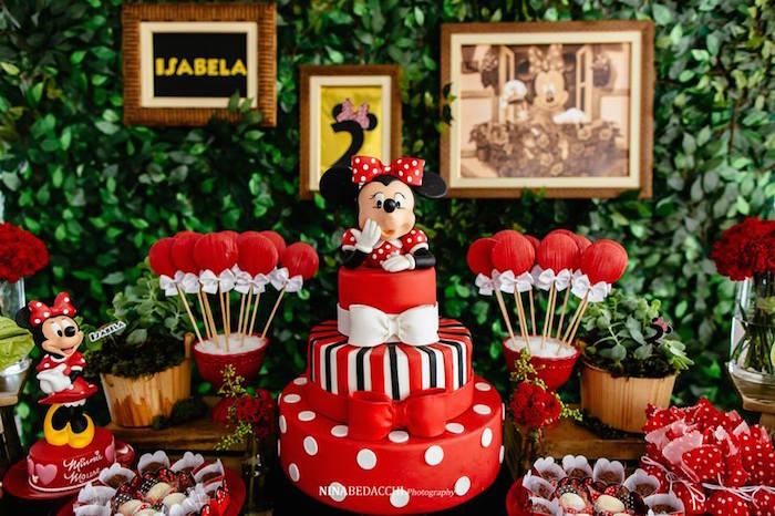 Karas Party Ideas Cake from a Minnie Mouse Birthday Party via