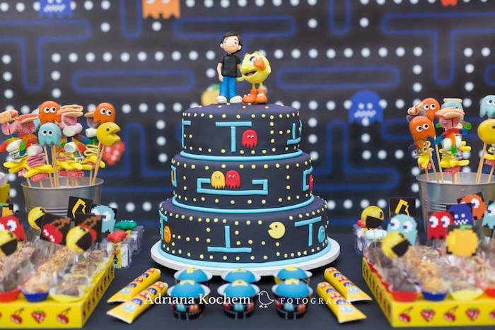 Karas Party Ideas Pac Man Cake From A Video Game Birthday Via